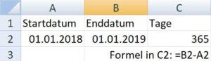 Tage von Datum zu Datum in Excel berechnen